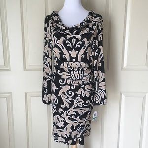INC Long Sleeve Ruched Black Dress Large NWT